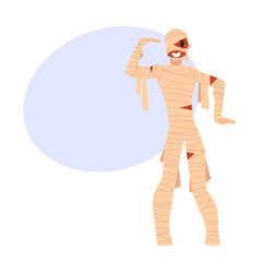 young man wrapped in bandages spooky mummy vector image