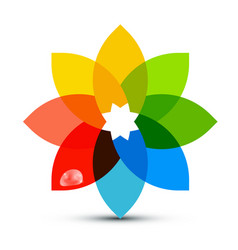 abstract colorful shape flower symbol with rain vector image