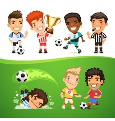Cartoon Soccer Players and Referee vector image vector image