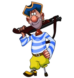 cheerful cartoon legged pirate with weapon vector image