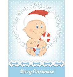 Funny Christmas baby boy vector image