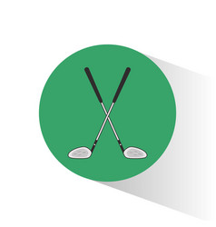 golf clubs crossed stamp vector image