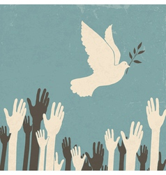 group of hands and dove of peace vector image vector image