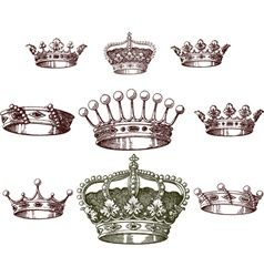 old crown set vector image vector image