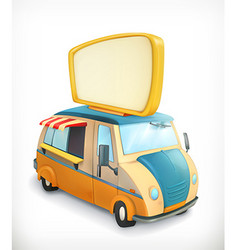 Car with banner food cart graphic element vector image vector image