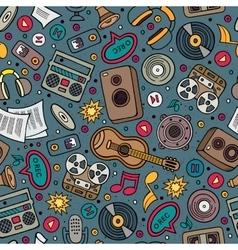 Cartoon hand-drawn musical instruments seamless vector image