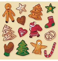 Christmas Gingerbread Cookies Set vector image vector image