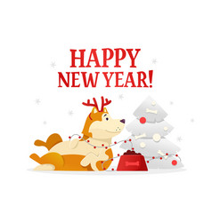 happy new year 2018 postcard template with the vector image