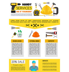 landing page for home repair handy service vector image vector image