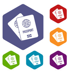 passports with map icons set vector image