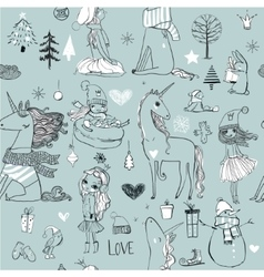 seamless pattern with doodle princess and unicorn vector image vector image
