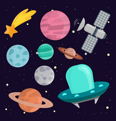 space landing planets spaceship solar system vector image