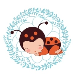 A beautiful ladybug baby card vector image