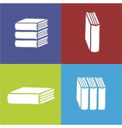 Books flat icon on color background vector