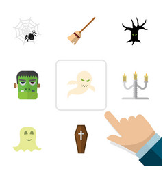 Flat icon festival set of broom spinner ghost vector