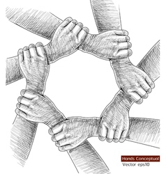 hands Drawing Concept vector image