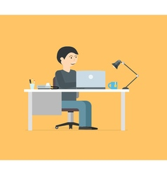 Happy businessman working with laptop Business in vector image