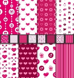 Set seamless backgrounds Valentine Day pattern vector image