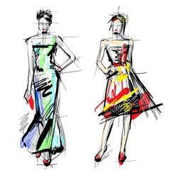 Artistic Fashion Sketches vector image vector image