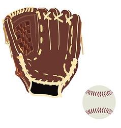 Baseball glove and ball vector image vector image