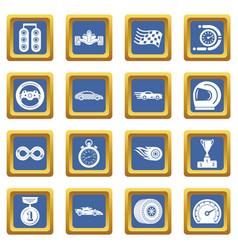 car race icons set blue square vector image