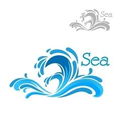 Cartoon blue sea wave splash vector image vector image