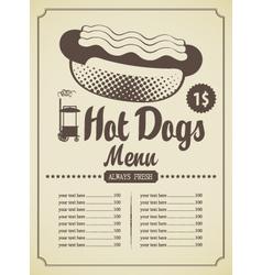 hot dog menu vector image