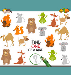one of a kind game with animals vector image