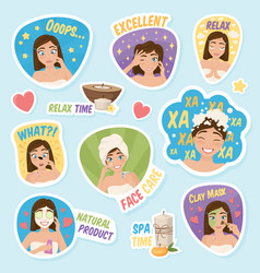 woman morning stickers set vector image