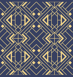 abstract art deco geometric tiles pattern on blue vector image