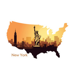 Abstract city skyline with sights new york at vector
