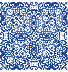 An ethnic ornament in decorative ceramic tiles vector