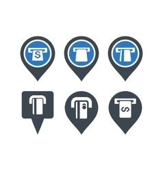 ATM Map Pointer Flat Icons vector image