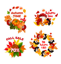 autumn sale shopping discount icons set vector image