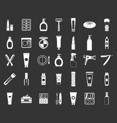 beauty elements icon set grey vector image