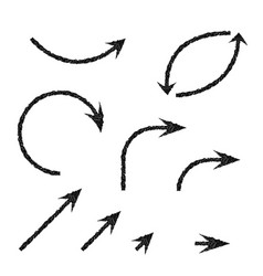 black arrows set set of scratched crayon icons vector image