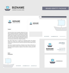 boat business letterhead envelope and visiting vector image