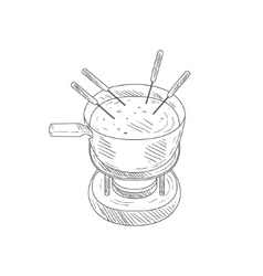 Bowl With Cheese Fondue Hand Drawn Realistic vector