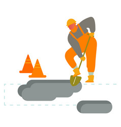 builder digging soil with shovel worker wearing vector image