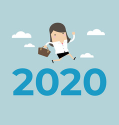 businesswoman jump over number 2020 vector image