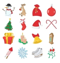 Christmas cartoon icons set vector