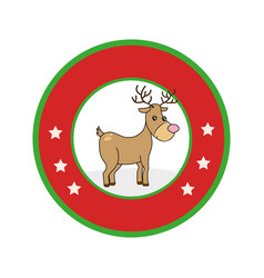 color circular frame with reindeer vector image