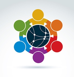 Colorful of people standing around a round n vector