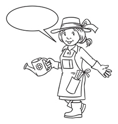 Coloring book of funny woman gardener vector
