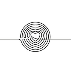 Continuous line drawing circle transformed in vector