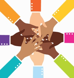 Creative diversity teamwork business hand vector