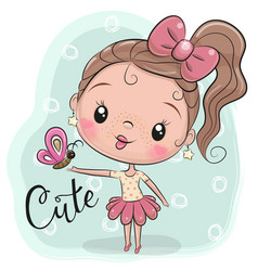 Cute cartoon girl with butterfly vector