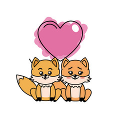 Cute couple of chipmunks with heart vector
