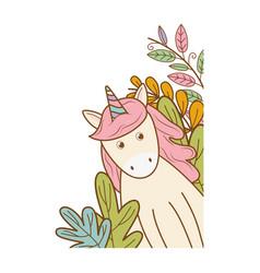 Cute fairytale unicorn with floral decoration vector