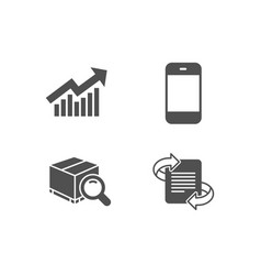 demand curve search package and smartphone icons vector image